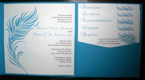 Feathers & Pearls Wedding Invitation