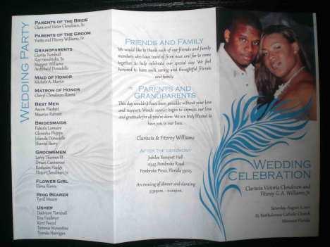 Feathers & Pearls Wedding Invitation Program (outside)