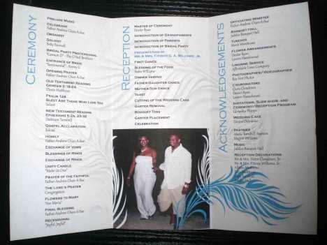Feathers & Pearls Wedding Invitation Program (inside)