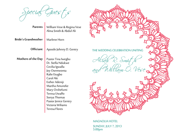 Wedding Program (outside)