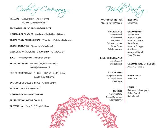 Wedding Program (inside)